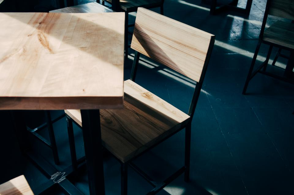 wood, tables, chairs