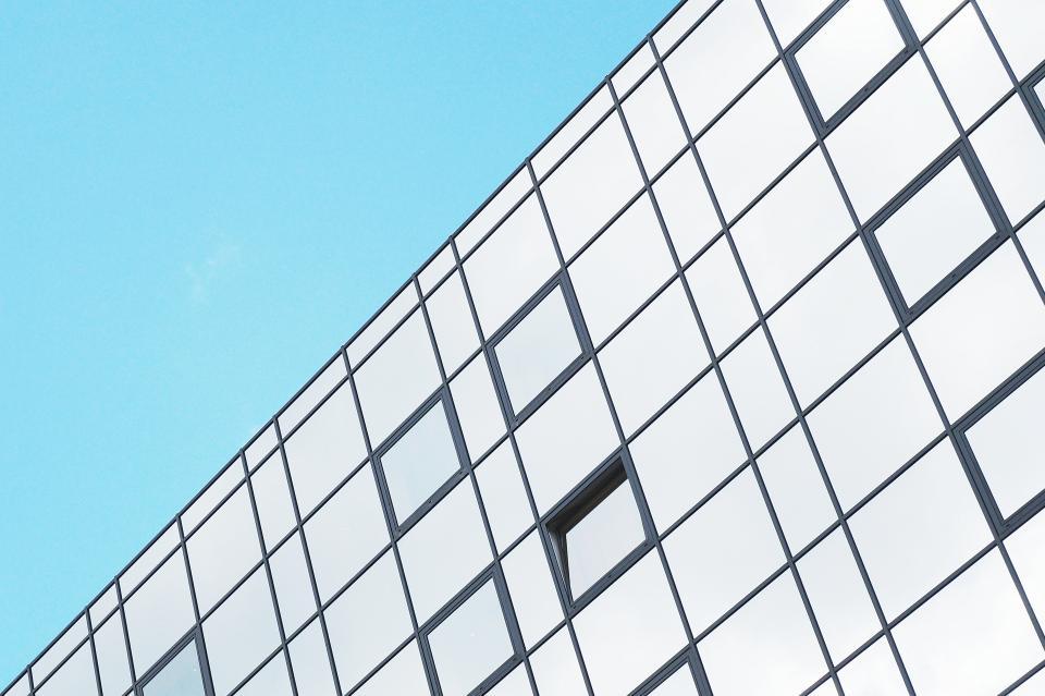 blue, sky, sunshine, building, architecture, city, urban, windows, business, corporate