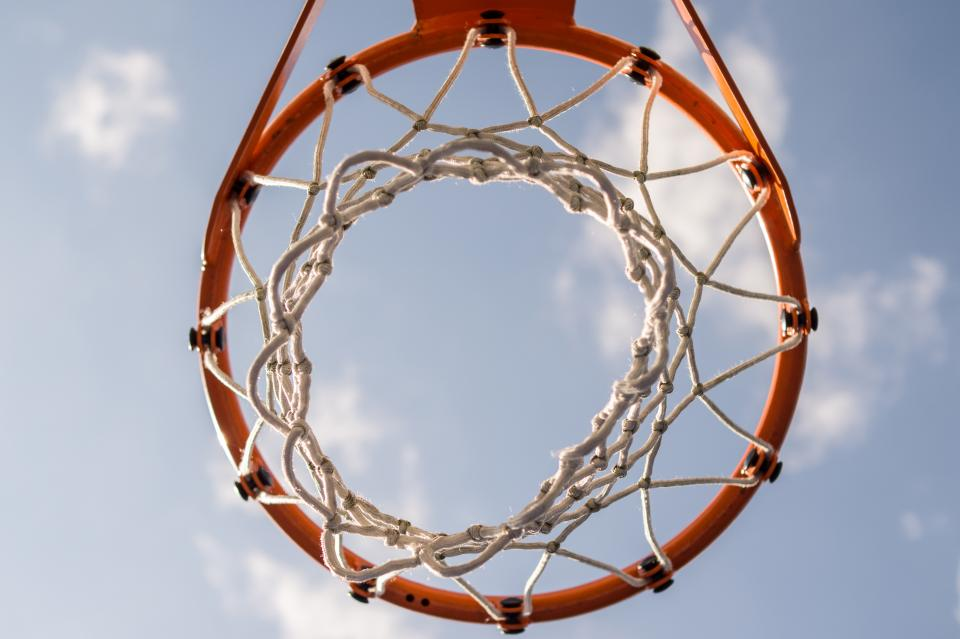 basketball, net, hoop, sports, game, sky, clouds, sunny, rim