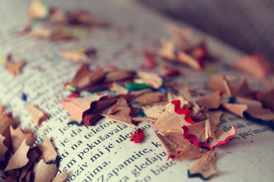 books, reading, colors, art, vintage, pencils, shavings, colours