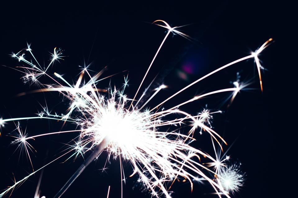 sparks, sparkler, lights, party, celebration, dark, night