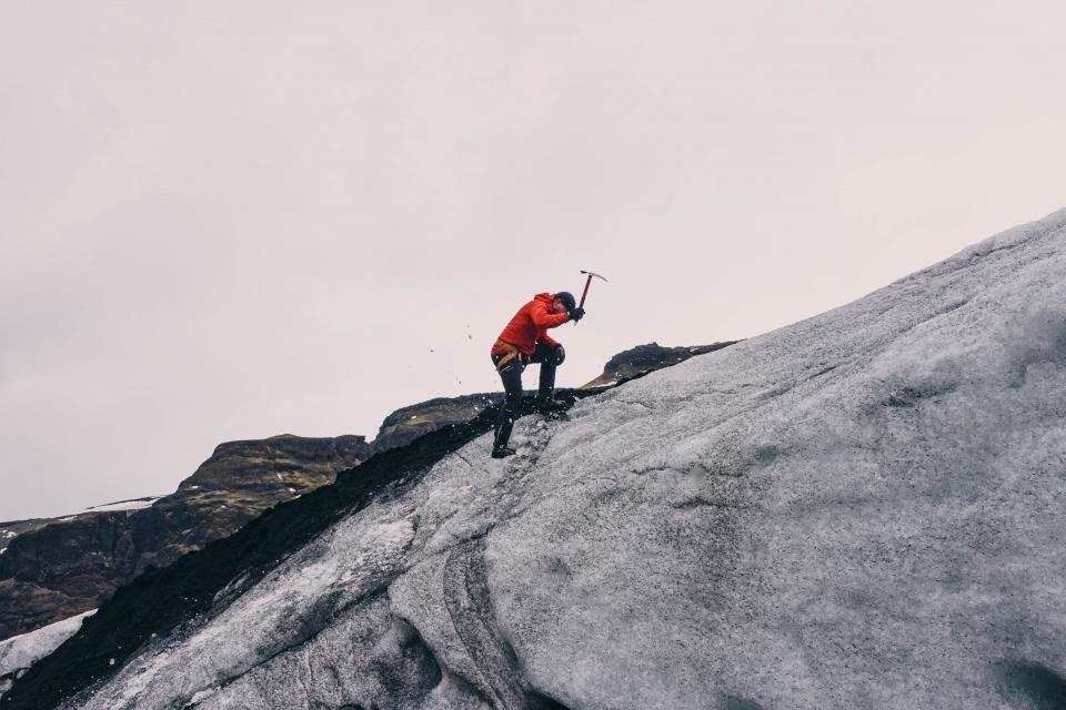 mountain, climber, pickaxe, people