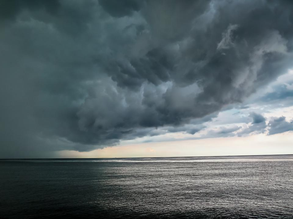 ocean, sea, water, horizon, storm, sky, clouds, cloudy, grey, nature
