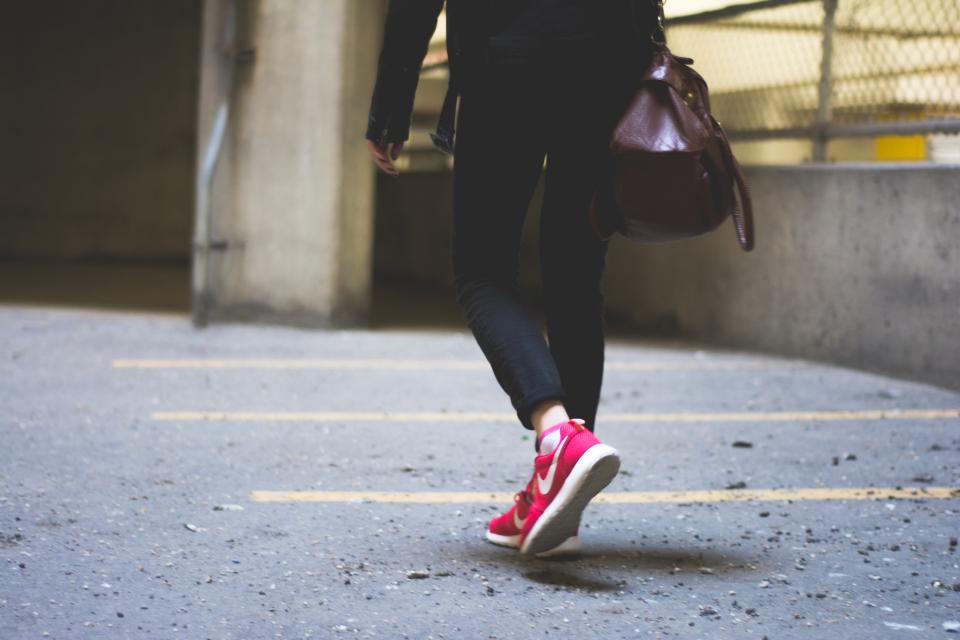 nike, sneakers, shoes, girl, people, purse, walking, pavement, lifestyle