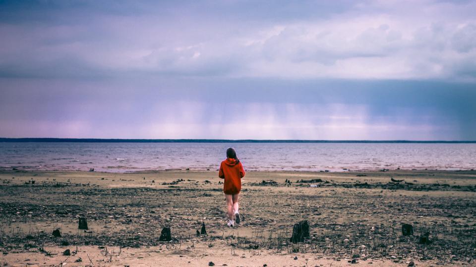 beach, sand, girl, ocean, sea, water, sky, clouds, people, sweater