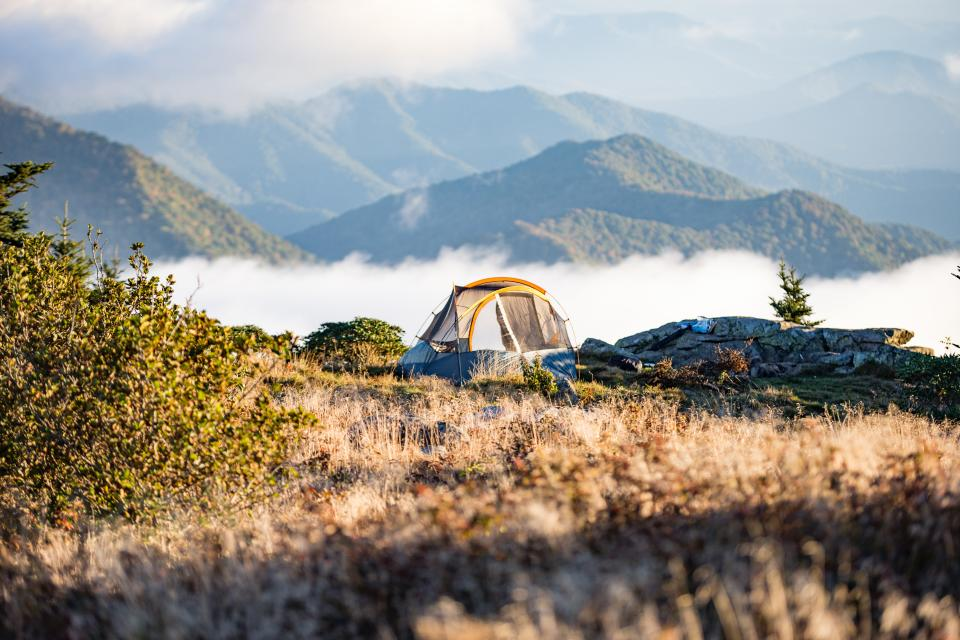 camp, tent, grass, mountain, hill, bonding, travel, adventure, trip, mountaineer, fog, clouds, sky