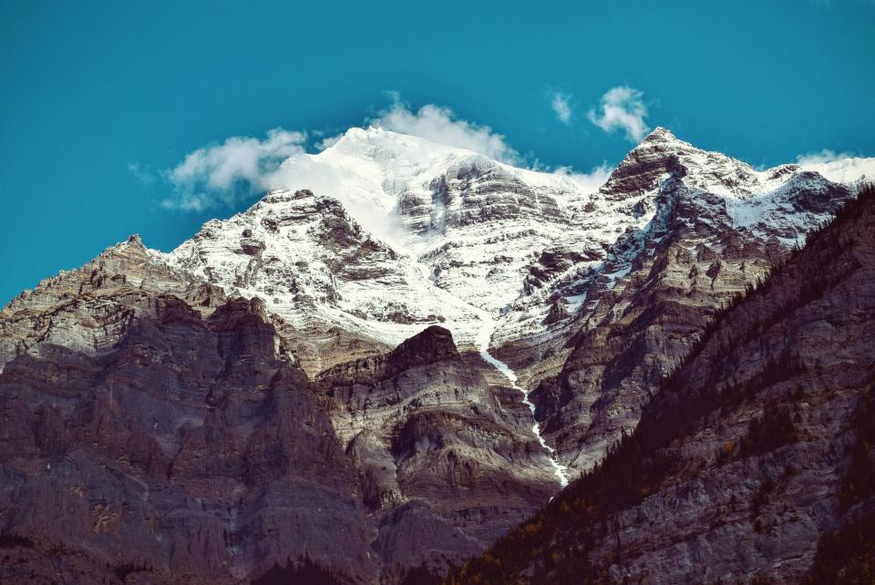 mountains, peaks, summit, snow, blue, sky, adventure, landscape