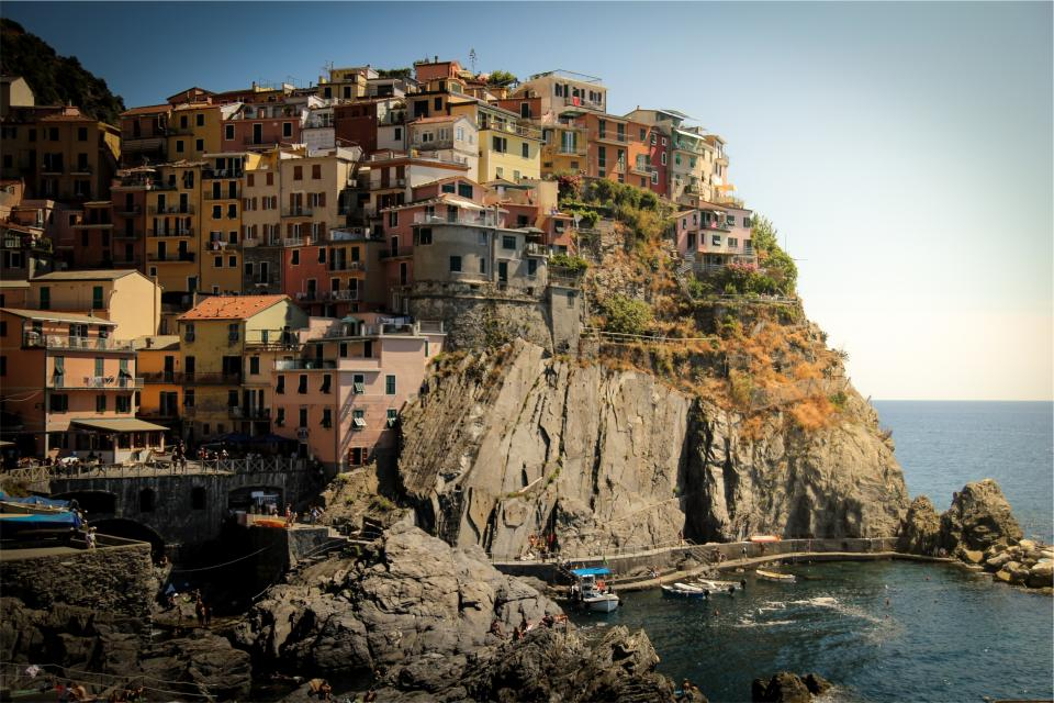 houses, mountains, hills, apartments, architecture, rocks, cliffs, coast, ocean, sea, boats, docks