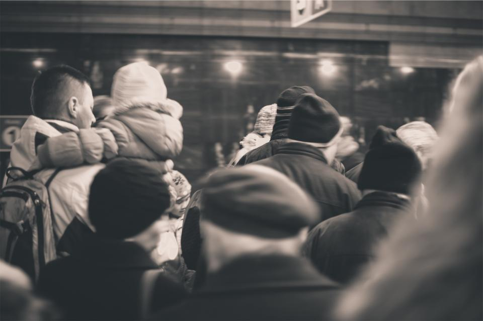 people, crowd, subway, winter, coats, hats, busy, transportation