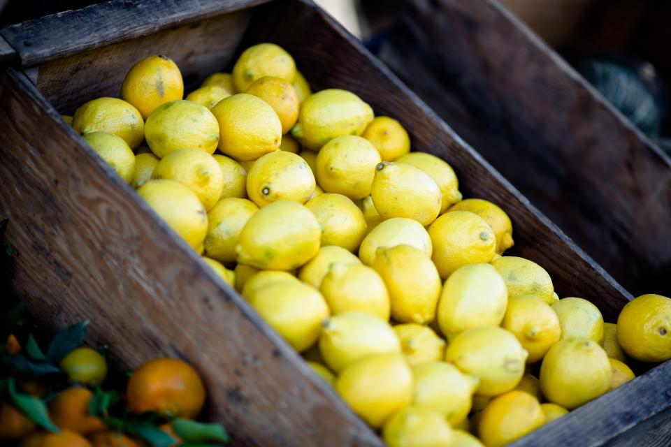 lemons, fruits, basket, market, food, healthy