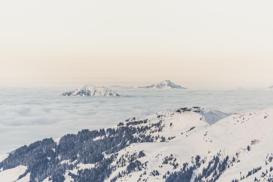 mountains, hills, cliffs, peaks, summit, clouds, sky, outdoors, adventure, trees, snow, winter, landscape, nature