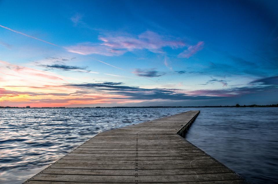 pier, dock, lake, water, horizon, sunset, dusk, sky, blue, landscape, nature, outdoors, evening