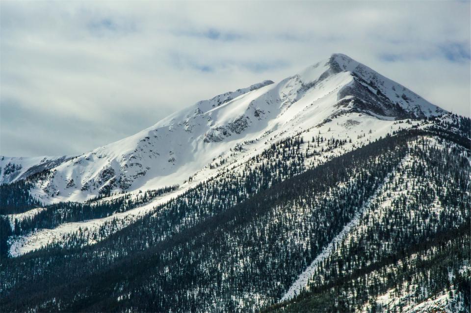 mountains, snow, winter, trees, sky, hills, peak