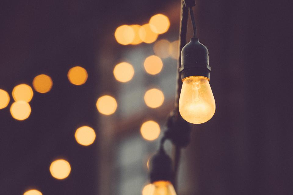 lights, string lights, light bulbs, blurry, bokeh, abstract, idea
