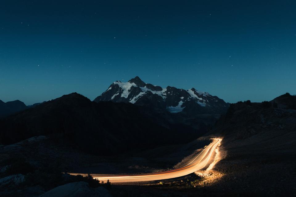 stars, sky, galaxy, night, dark, evening, mountains, peak, snow, landscape, nature, road, rural, countryside, lights