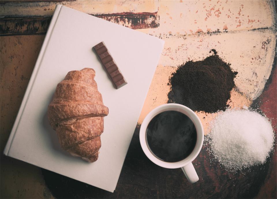 croissant, coffee, chocolate, sugar, cup, mug, book, breakfast, food, snack