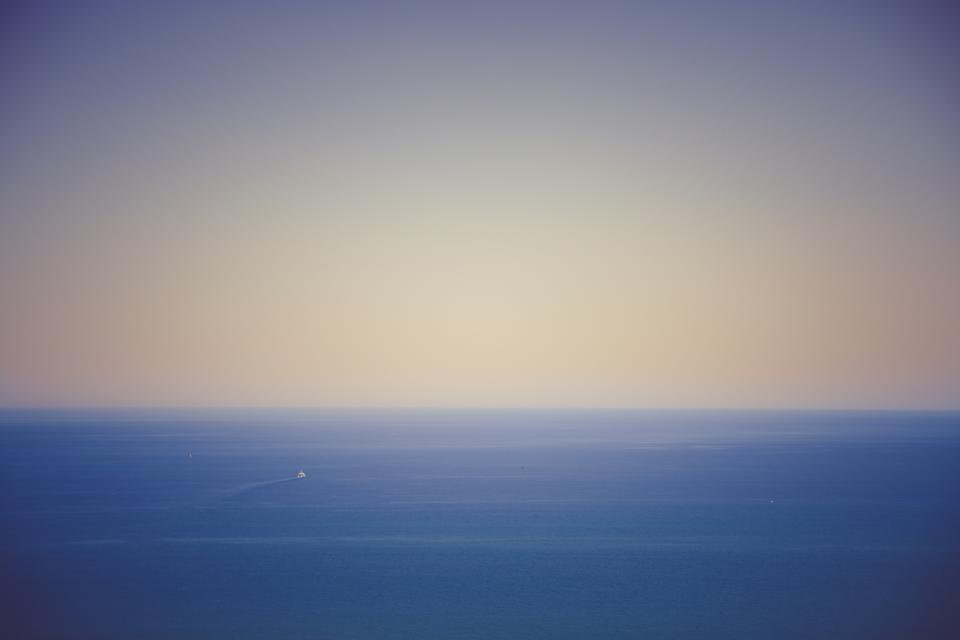 ocean, sea, boat, horizon, sky, sunset, dusk, landscape