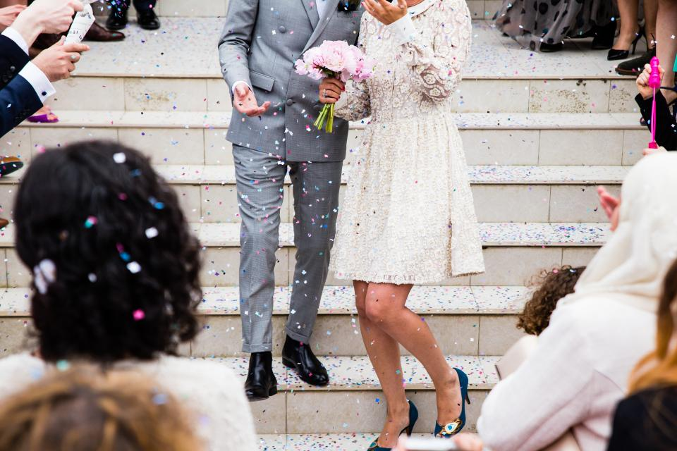 people, couple, wedding, marriage, party, celebration, happy, event, occasion, stairs, confetti, steps