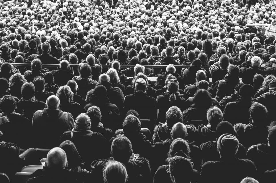 people, crowd, spectators, stadium, black and white