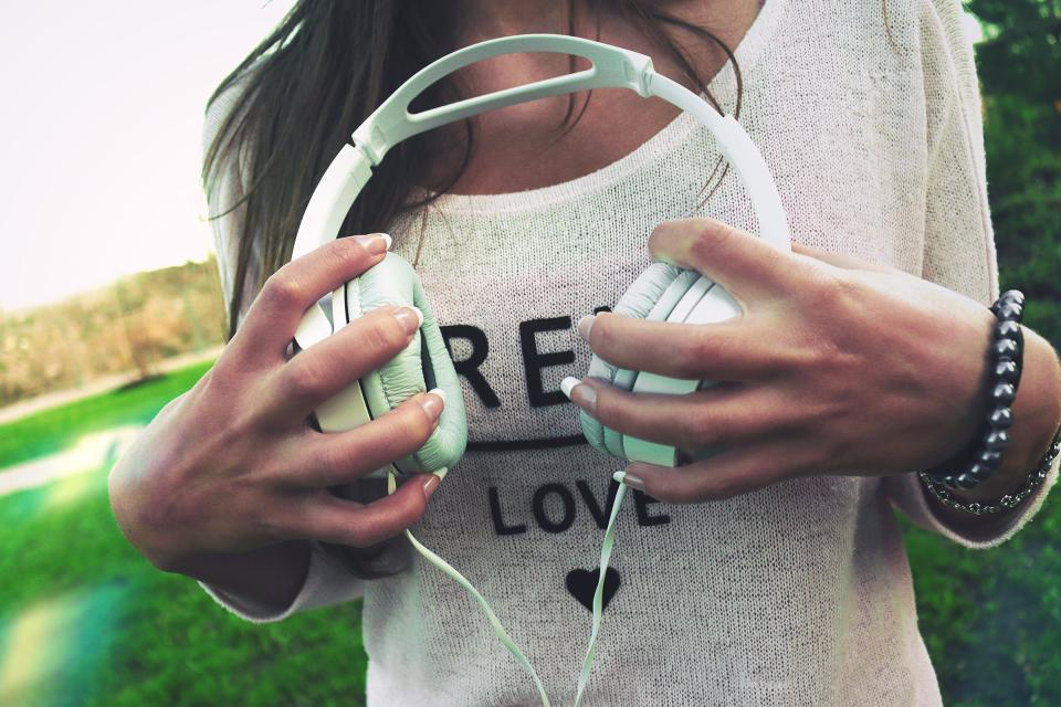 headphones, music, hands, girl, woman, people, lifestyle, love