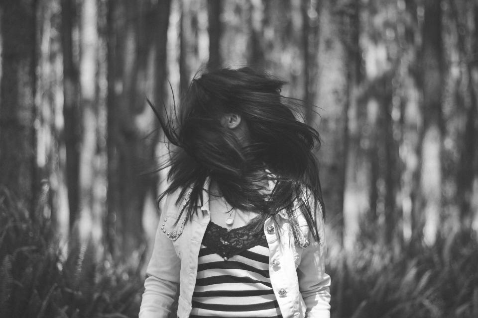 woods, woman, girl, people, nature, forest, trees, black, white