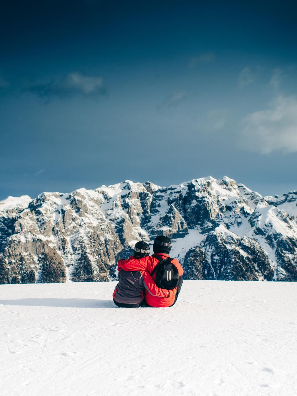 skiing, snowboarding, couple, love, romance, hugging, snow, mountains, peaks, sky, outdoors, nature, landscape