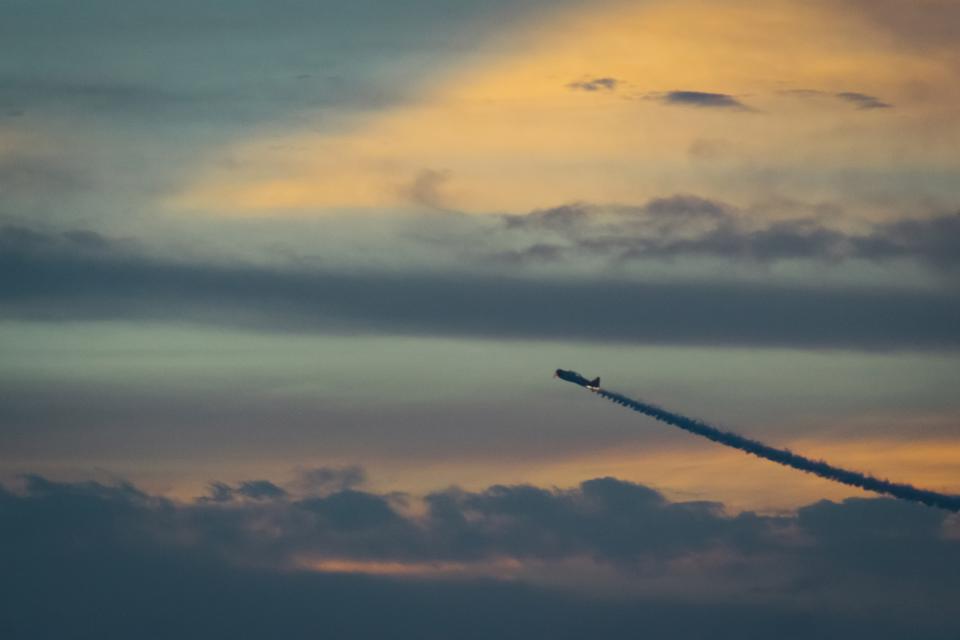 airplane, jet, aviation, sky, sunset, dusk, clouds, transportation, travel