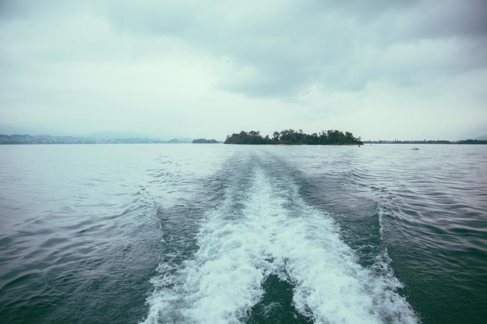 lake, water, boat, clouds, cloudy, outdoors, island