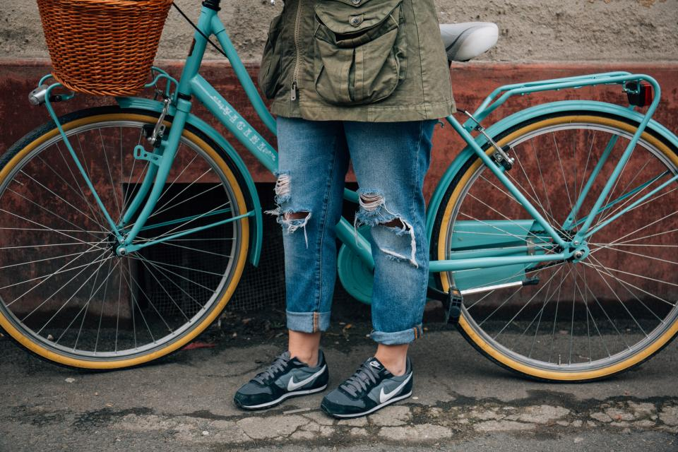 bike, bicycle, lifestyle, shoes, sneakers, jeans, fashion, lifestyle, people
