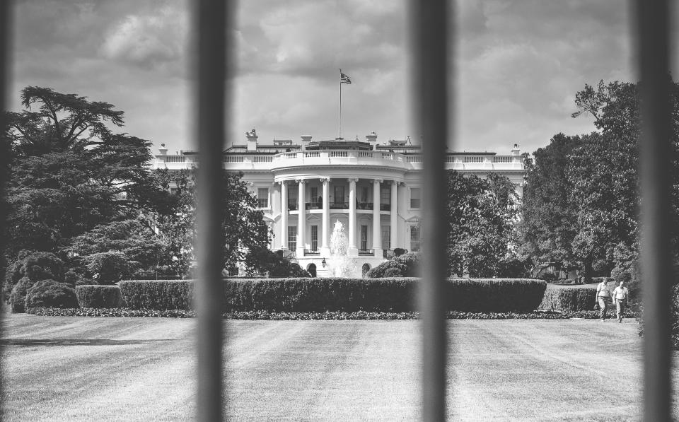 White House, Washington, USA, United States, american, flag, building, architecture, gates, yard, government, black and white