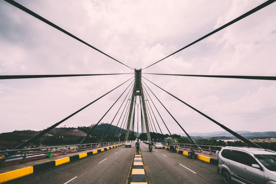 bridge, road, cars, architecture
