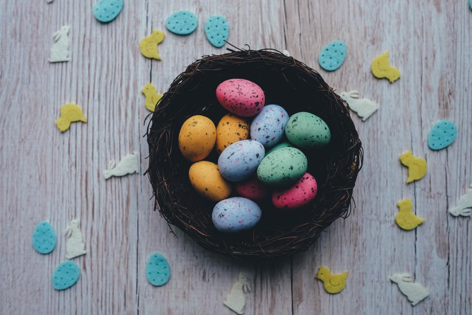 easter, eggs, basket, wood, ducks, colors, colours