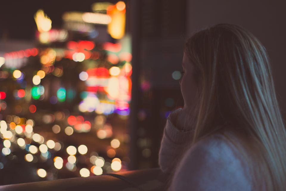 girl, woman, looking, thinking, lights, blurry, abstract, bokeh, window, night, evening, people