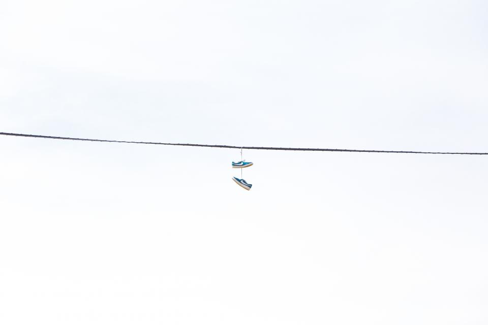 electrical, power, line, hanging, shoes, sneakers, white, minimalist