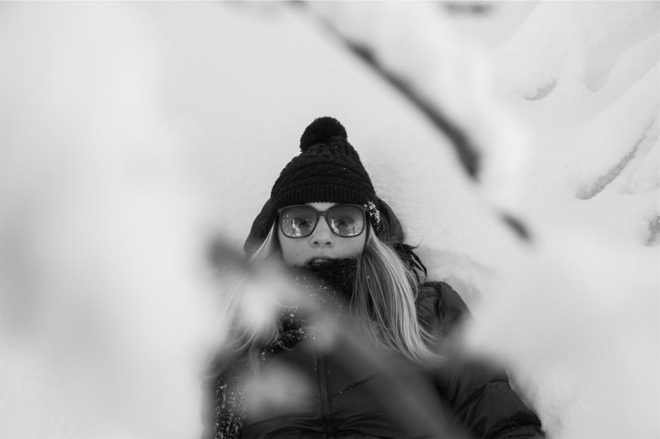 girl, model, blonde, sunglasses, hat, toque, winter, jacket, fashion, cold, people, long hair, pretty, beautiful