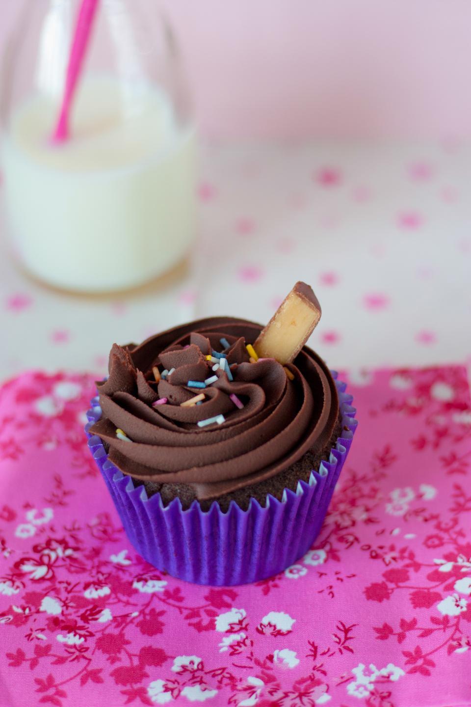 chocolate, cupcake, icing, dessert, milk, bottle, sweets, treats