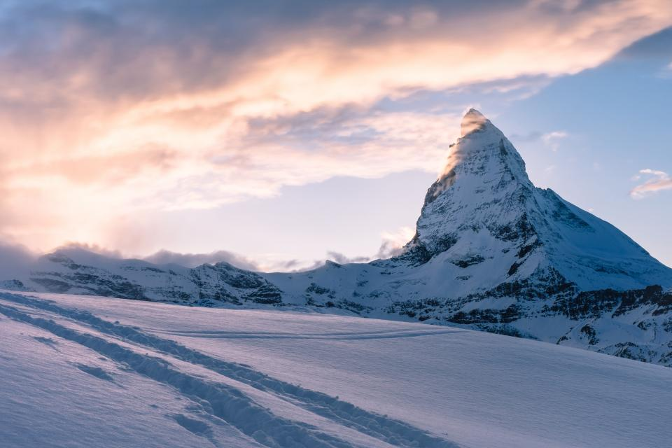 snow, winter, mountain, hill, rocks, cliffs, sky, clouds, landscape
