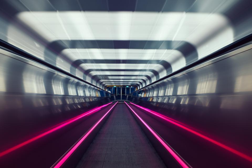oslo, subway, tunnel, metal, urban, lights, transportation