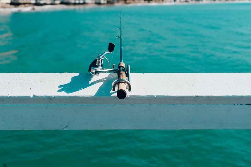 fishing, rod, pier, water, ocean, sea, sunny, summer