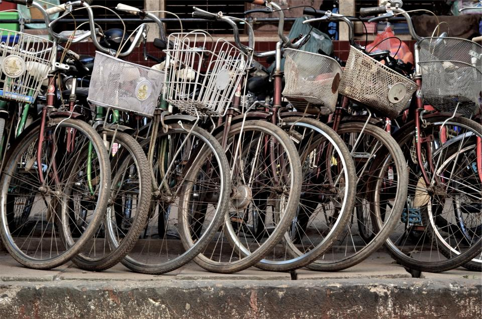 bikes, bicycles, baskets