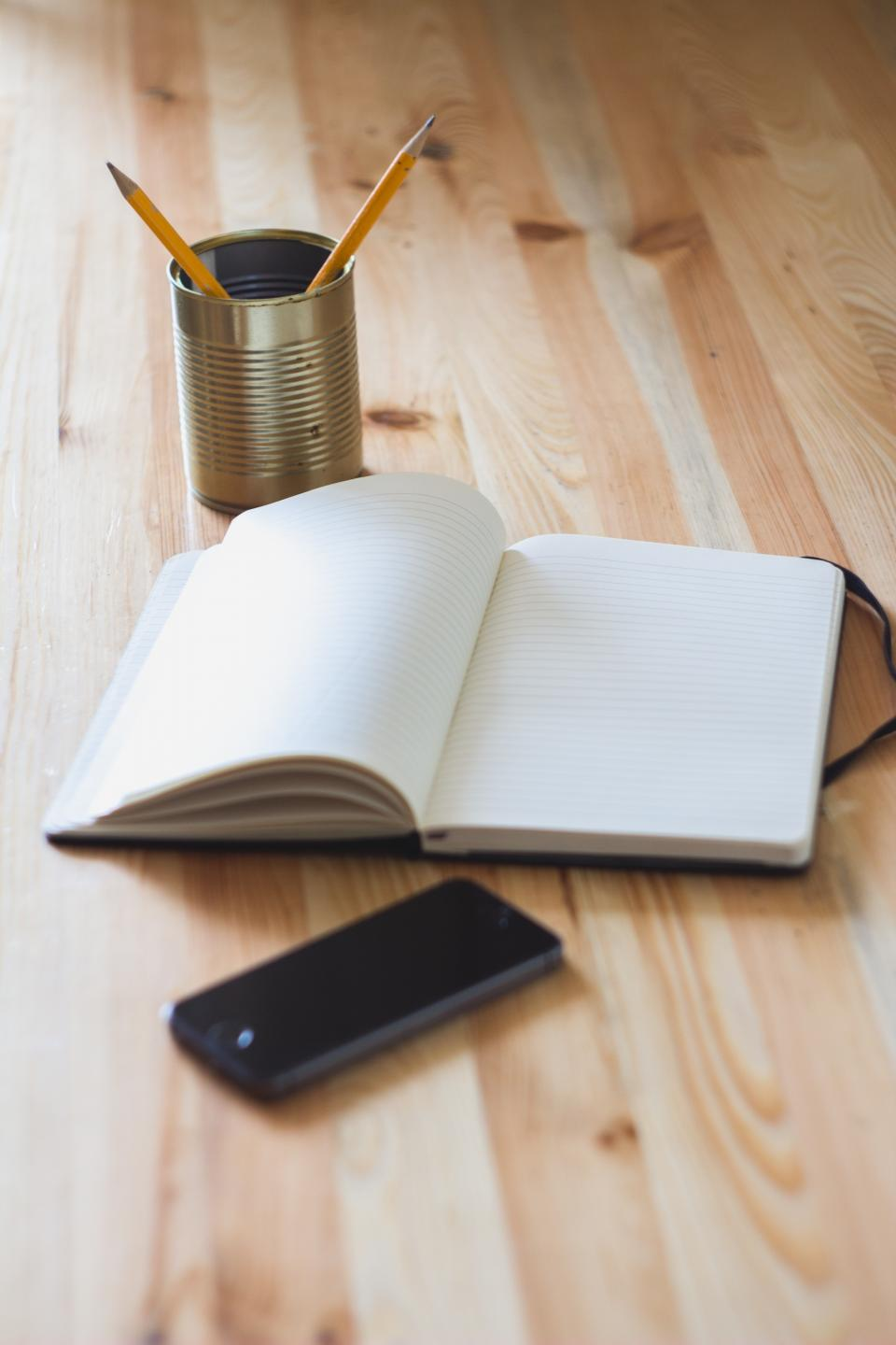 notebook, pencils, stationary, iphone, mobile, technology, objects, creative, business, office