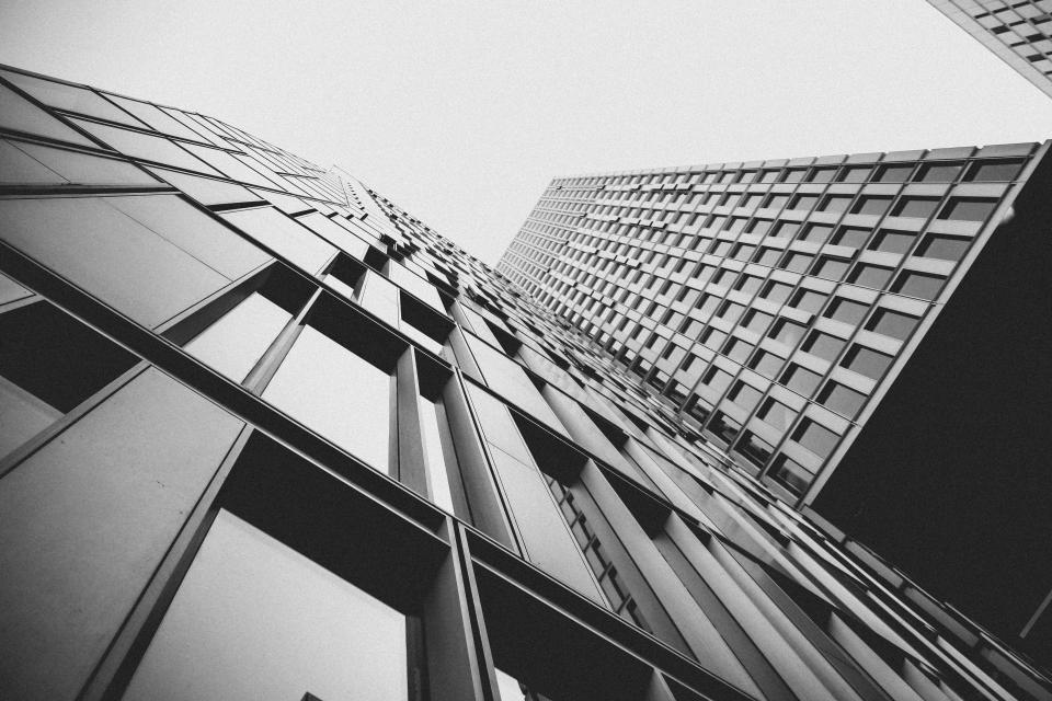 buildings, architecture, city, urban, high rises, windows, business, corporate, black and white, sky