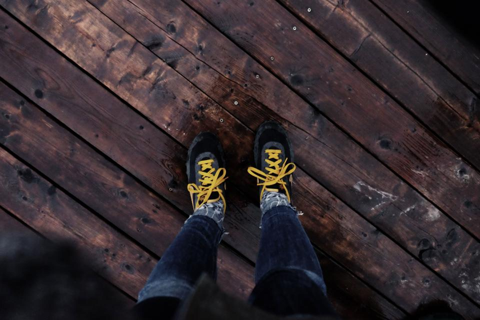 shoes, yellow, laces, wood, floor