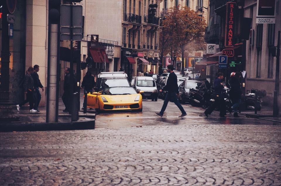 cobblestone, streets, city, urban, people, walking, pedestrian, stores, shops, buildings, cars, Lamborghini