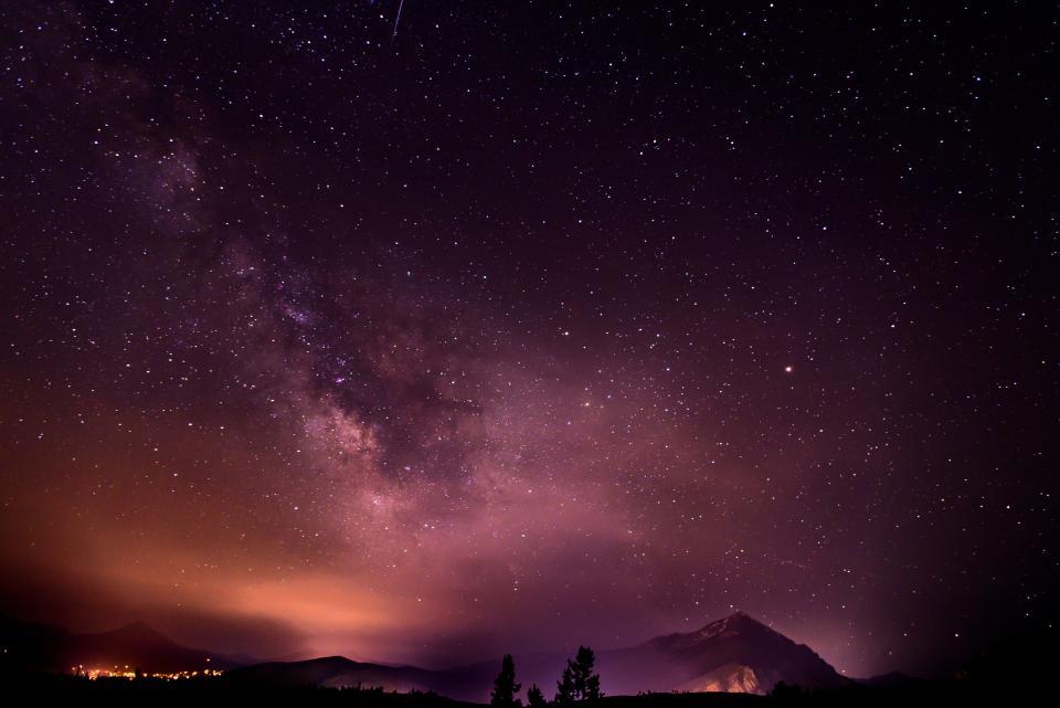 nature, sky, clouds, night, constellations, stars, universe, galaxy, space, gradient, orange, purple, black