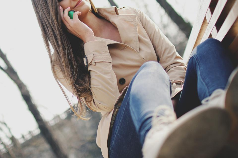 girl, talking, calling, cell phone, mobile, technology, woman, people, fashion, jeans, coat