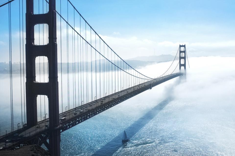 Golden Gate Bridge, San Francisco, bay, architecture, sea, water, sailboat, sunny, fog, sky, clouds