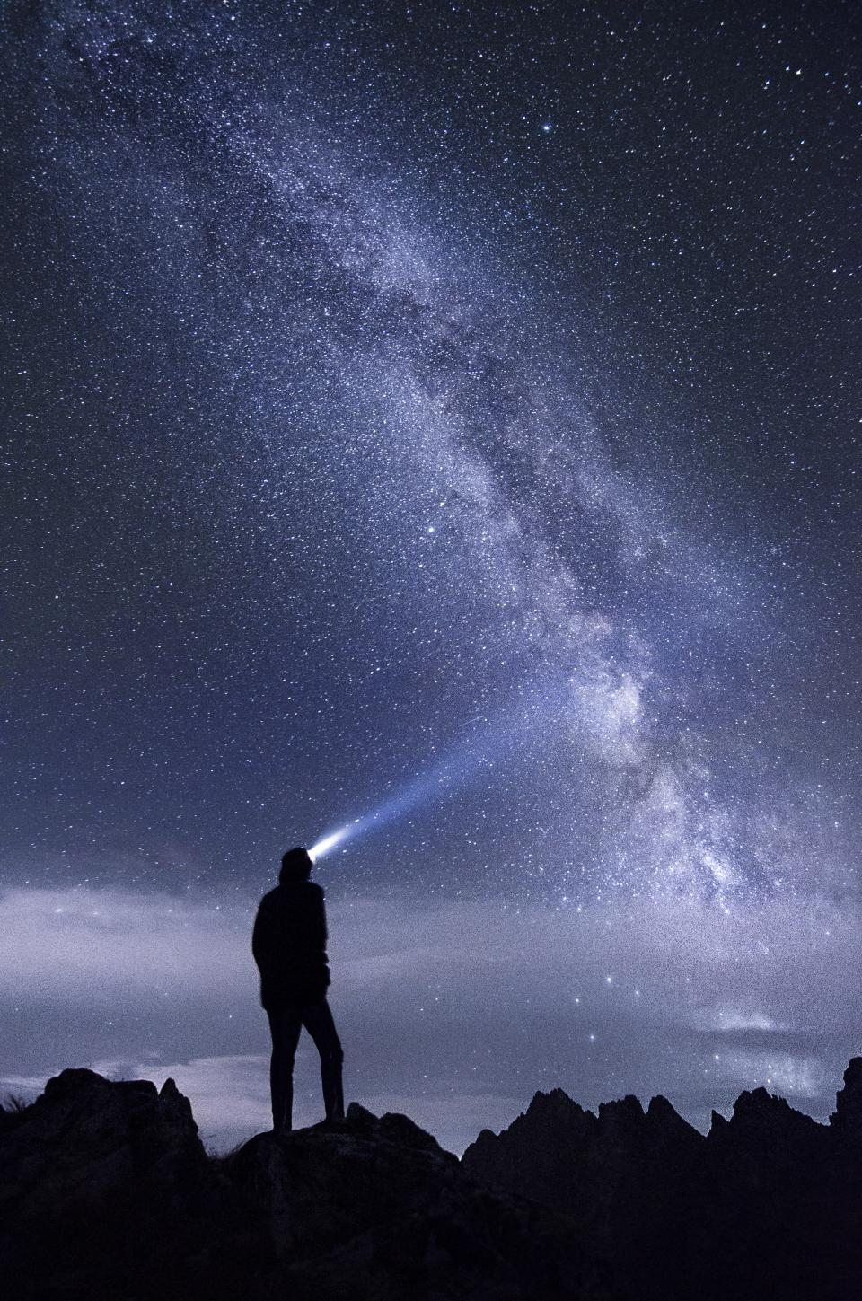guy, man, male, people, back, contemplate, headlamp, mountains, travel, trek, hike, climb, galaxy, stars, constellation, night, sky, summit, peaks, clouds, outdoors, nature