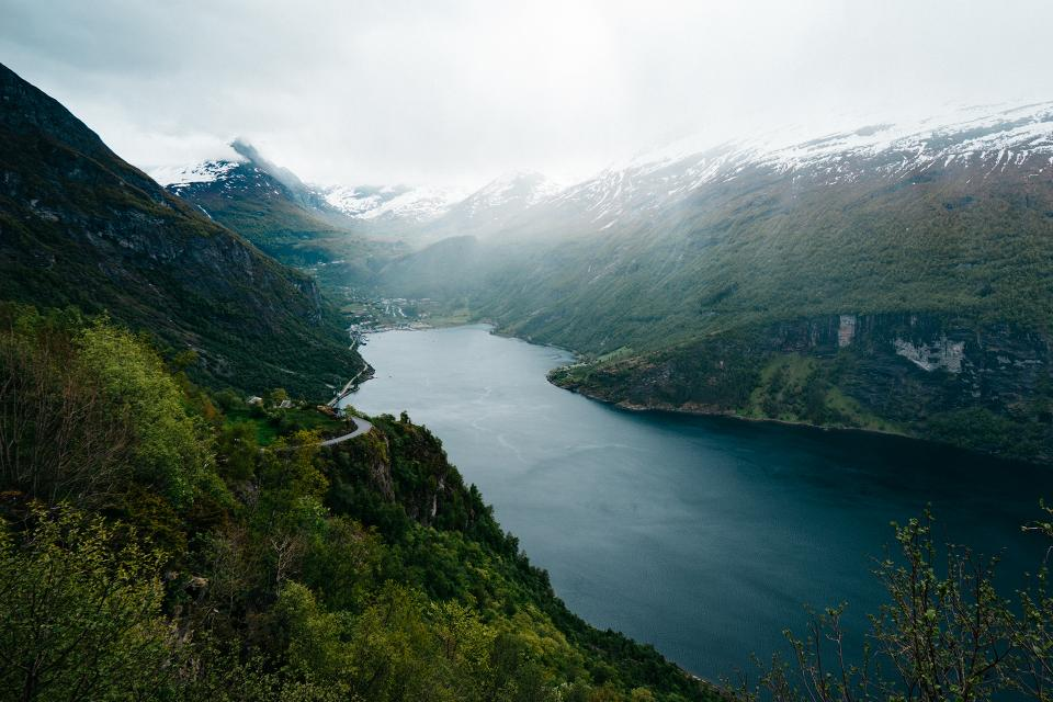 landscape, mountains, river, water, nature, outdoors, adventure, sky, fog, forest, trees, green, snow, peaks