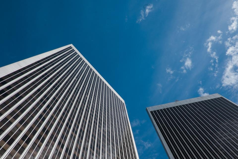 buildings, architecture, windows, towers, high rises, business, corporate, blue, sky, city, urban